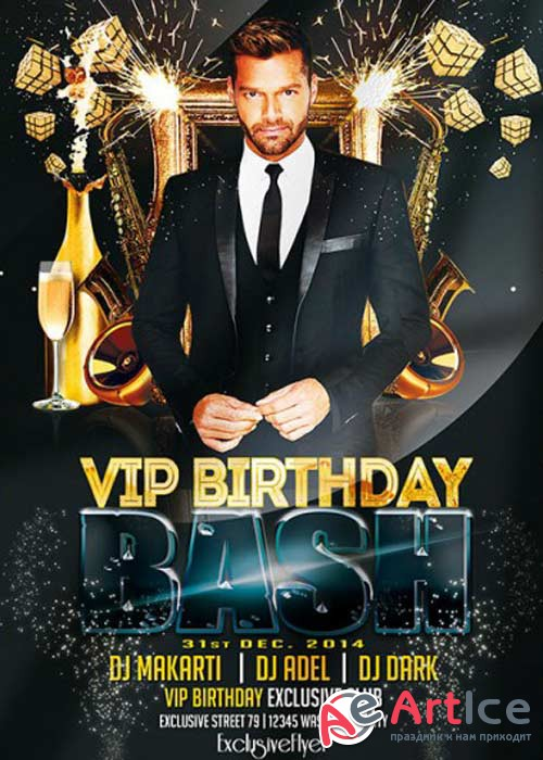 Vip Birthday Bash V5 Premium Flyer Template