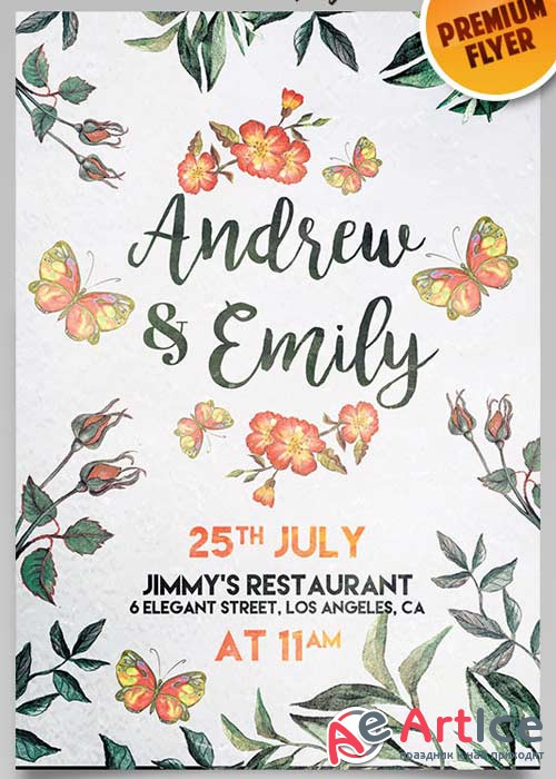 Wedding Invitation Flyer V9 PSD Template + Facebook Cover