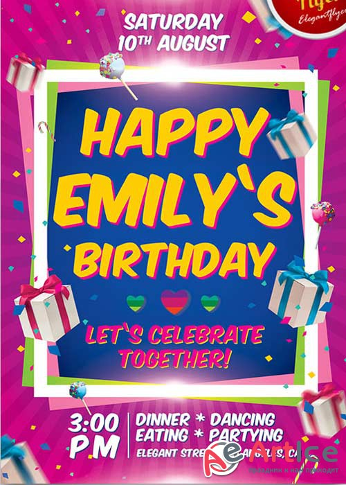 Birthday Party Invitation Flyer V1 PSD Template + Facebook Cover