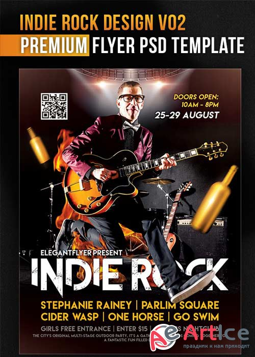 Indie Rock Design V02 Flyer PSD Template + Facebook Cover