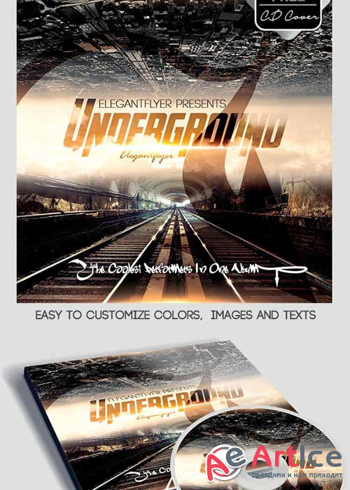 Underground CD Cover PSD Template