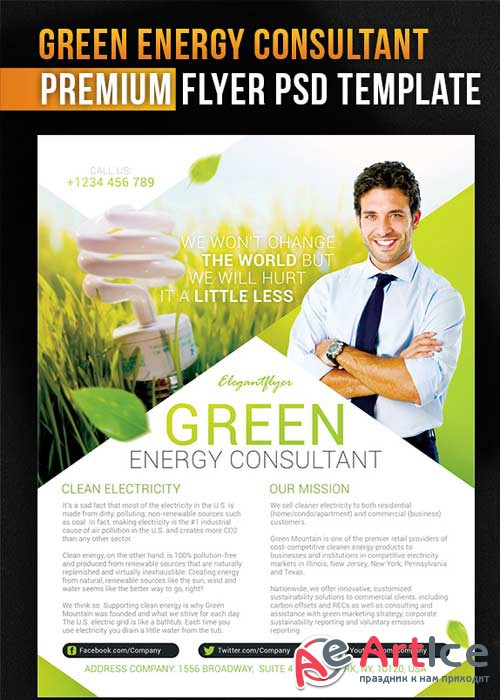 Green Energy Consultant Flyer PSD Template + Facebook Cover