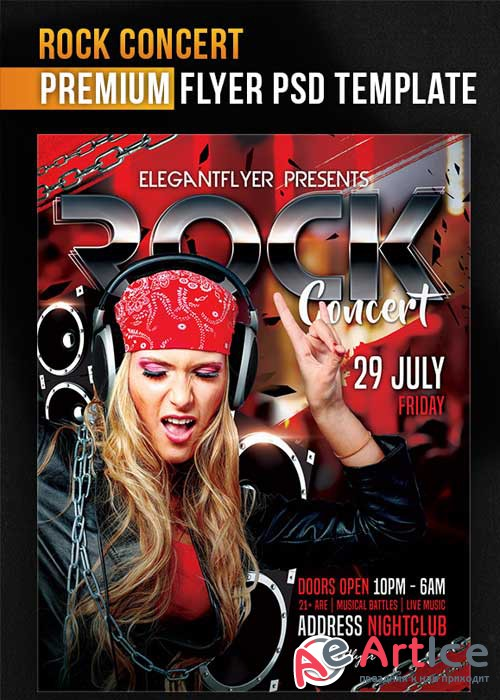 Rock Concert Flyer PSD Template + Facebook Cover