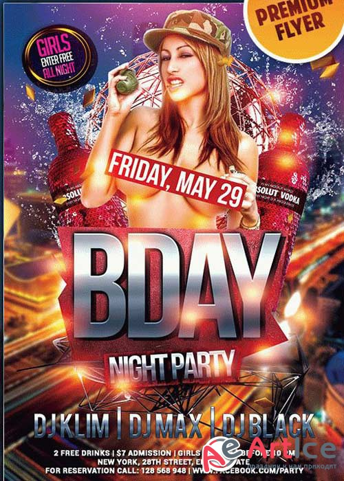Bday Bash V2 Premium Club flyer PSD Template + Facebook Cover