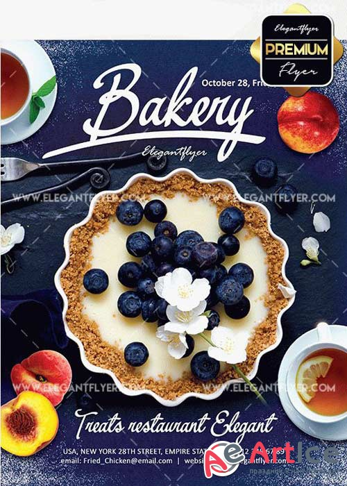 Bakery Promotion V4 Flyer PSD Template + Facebook Cover