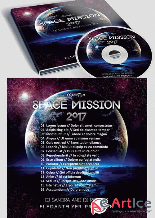 Space Mission Premium CD&DVD cover PSD Template