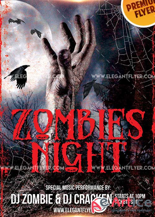 Zombie Night V5 Flyer PSD Template + Facebook Cover