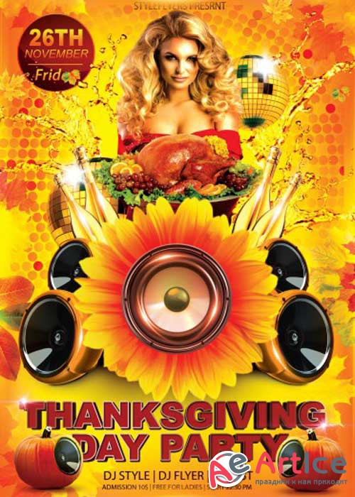 Thanksgiving Day Flyer PSD V11 Template with Facebook cover