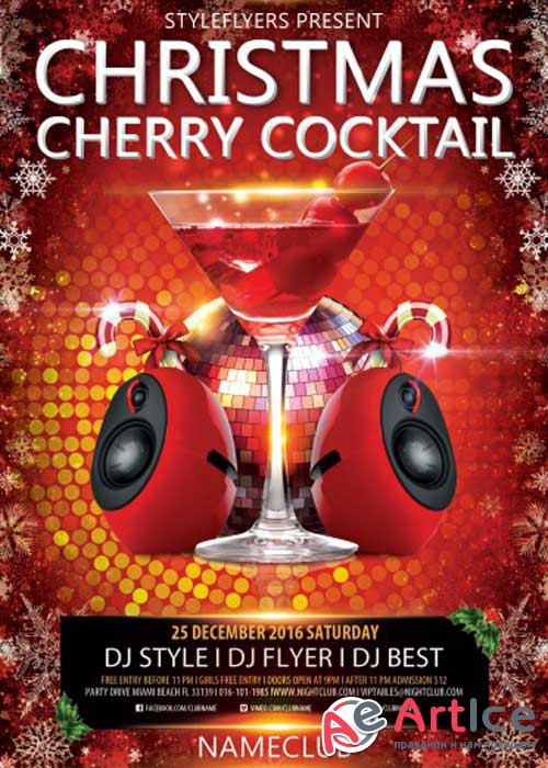 Christmas Cherry Cocktail PSD V1 Flyer Template with Facebook Cover