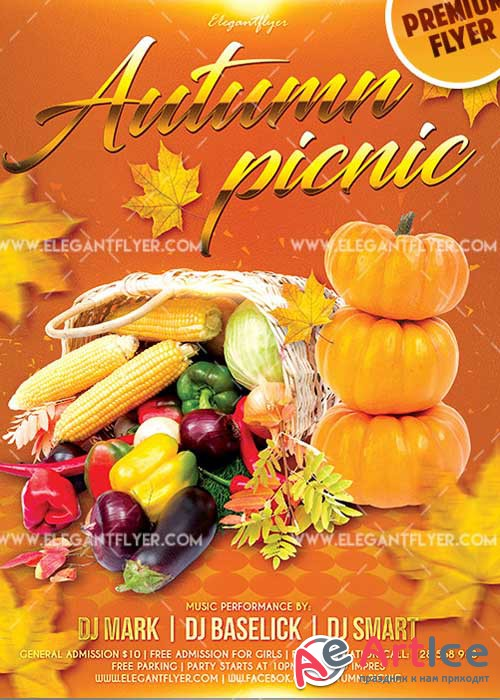 Autumn Picnic Flyer PSD V14 Template + Facebook Cover