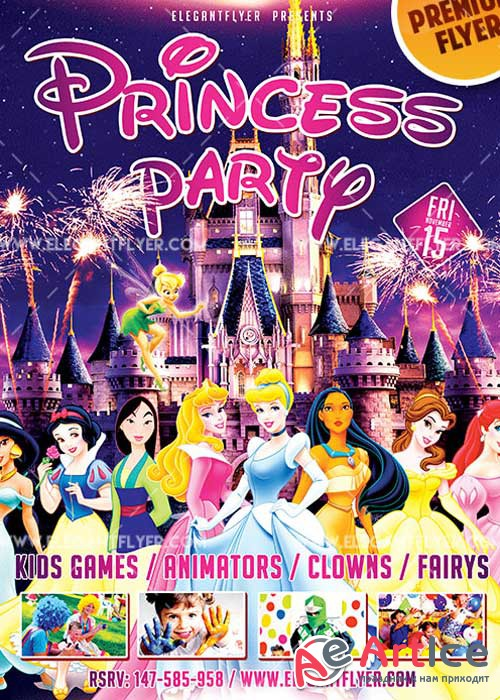 Princess Party Flyer PSD V2 Template + Facebook Cover