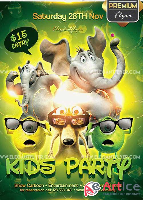 Kids Party Flyer PSD V7 Template + Facebook Cover