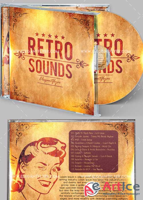 Retro Sounds Premium CD Cover PSD V4Template