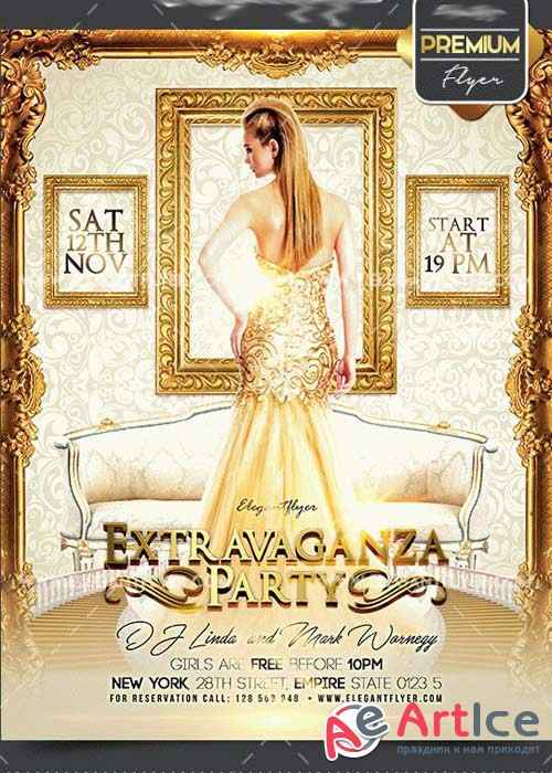 Extravaganza Party Flyer PSD V1 Template + Facebook Cover