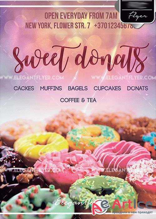 Sweet Donats PSD V15 Template + Facebook cover