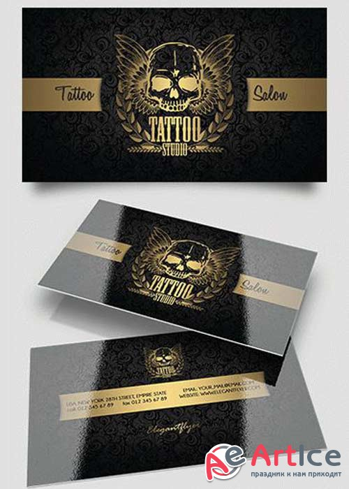Tattoo Salon PSD V11 Business Card Templates