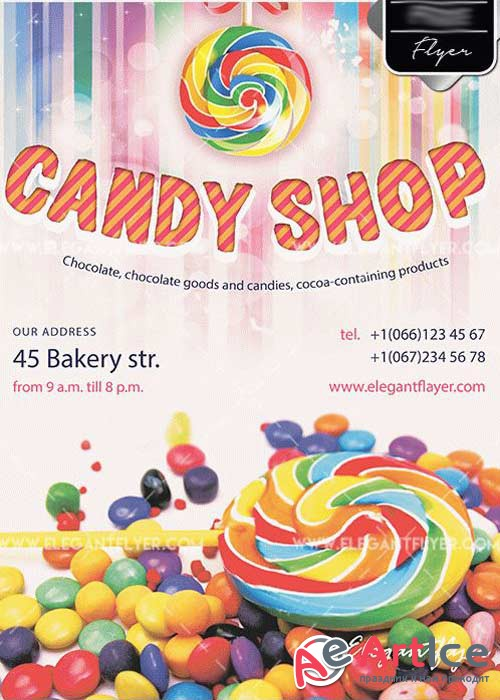 Candy Shop Flyer PSD V4 Template + Facebook Cover