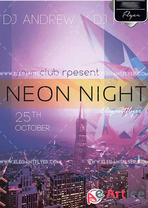 Neon Night V2 PSD Template + Facebook cover