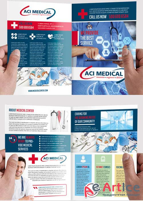 Medical V2 Premium Bi-Fold PSD Brochure Template