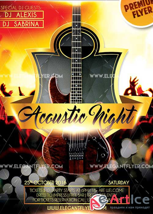 Acoustic Night V1 Flyer PSD Template + Facebook Cover