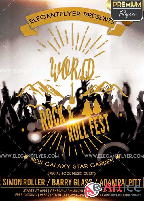 Rock and Roll Fest V2 Flyer PSD Template + Facebook Cover