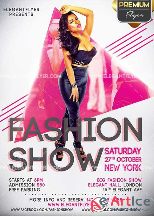 Fashion Show V2 Flyer PSD Template + Facebook Cover