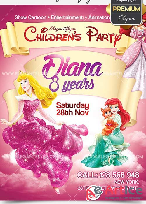 Children's Party V02 Flyer PSD Template + Facebook Cover