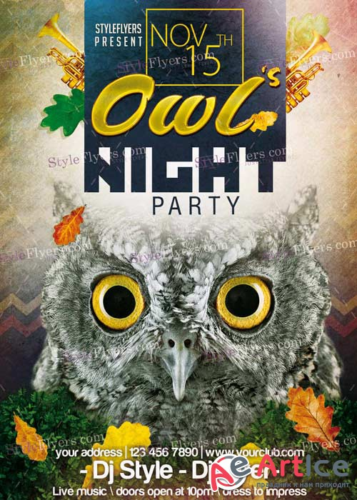 Owl's Night Party PSD V8 Flyer Template