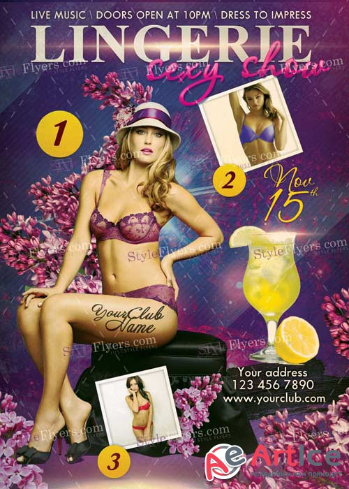 Lingerie Sexy Party PSD 15 Flyer Template