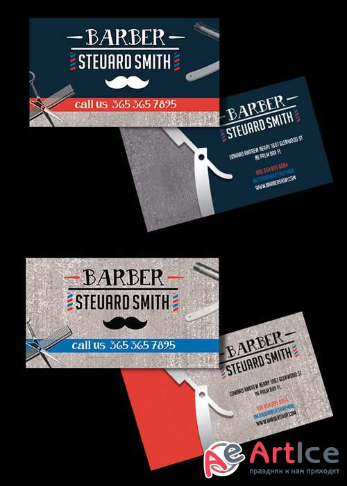 Barber Shop V1 Premium Business card PSD Template