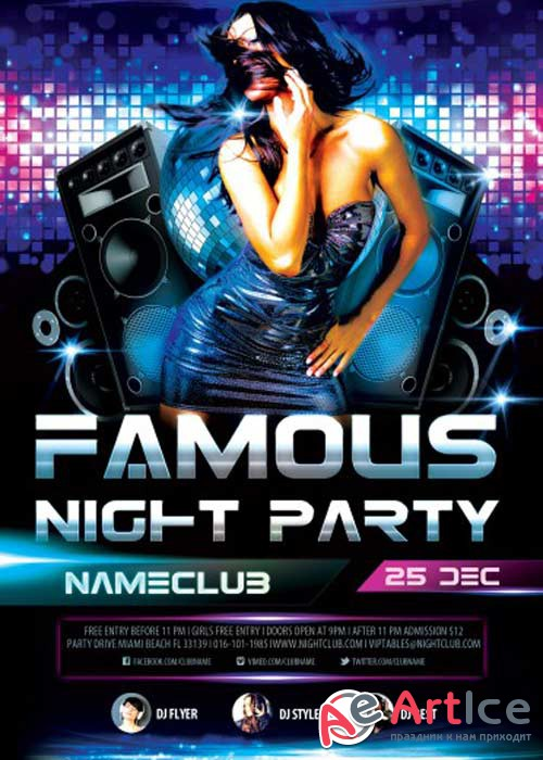 Famous Night Party V1 PSD Flyer Template with Facebook Cover