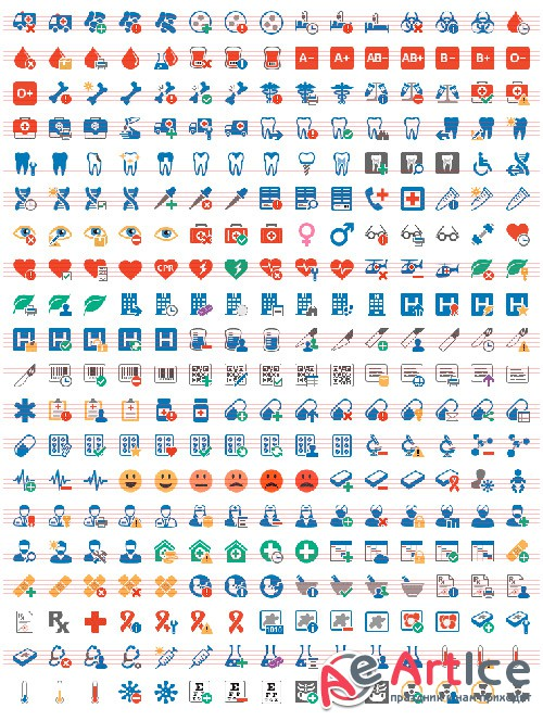 Medical Set - Pure Flat Toolbar Stock Icons