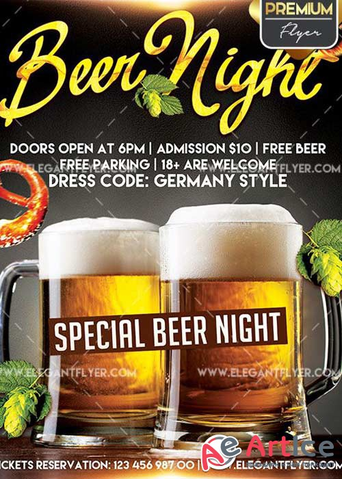 Beer Night Flyer PSD V8 Template + Facebook Cover