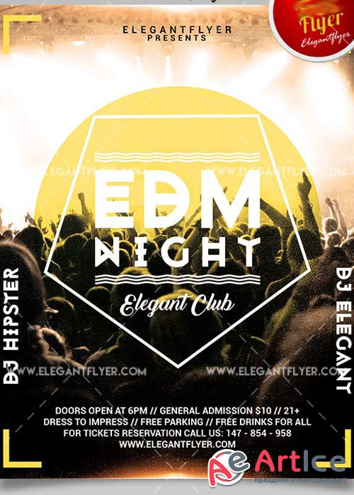 EDM Night Flyer PSD V15 Template + Facebook Cover
