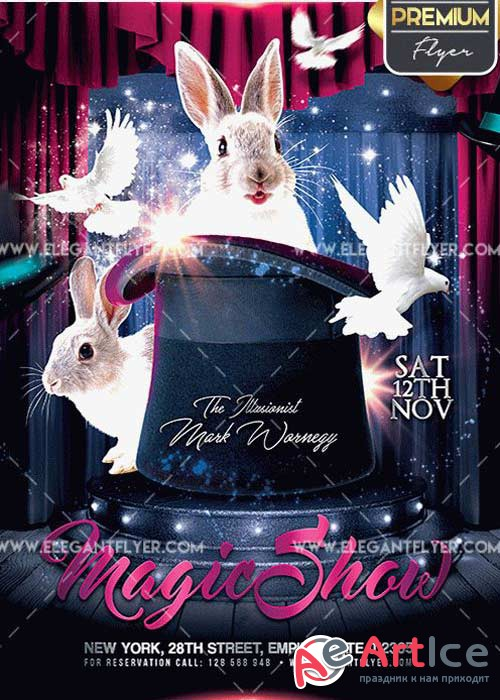 The Magic Show Flyer PSD V5 Template + Facebook Cover