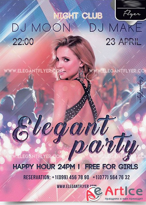 Elegant Party PSD V7 Template + Facebook cover