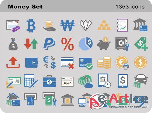 Pure Flat Toolbar Stock Icons - Money Set