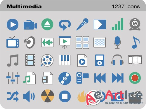 Pure Flat Toolbar Stock Icons - Multimedia Set