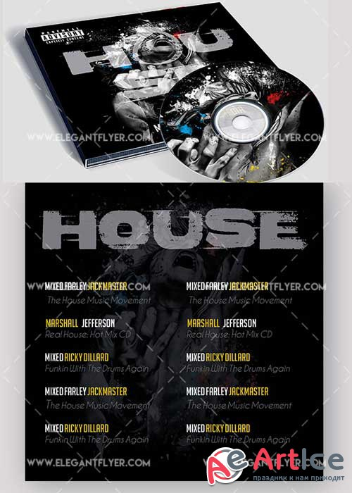 House music Premium CD Cover PSD V8 Template