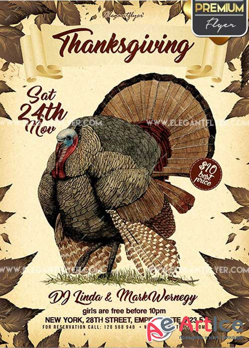 Thanksgiving Flyer PSD V12 Template + Facebook Cover