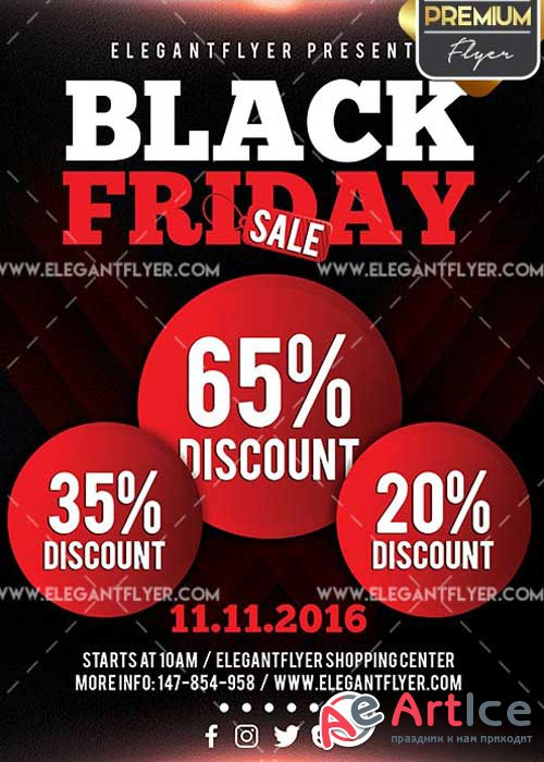 Black Friday Flyer PSD V11 Template + Facebook Cover