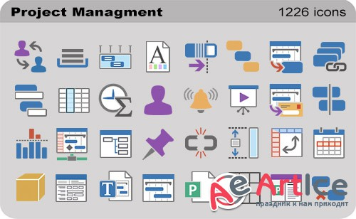 Project Managment Set - Pure Flat Toolbar Stock Icons