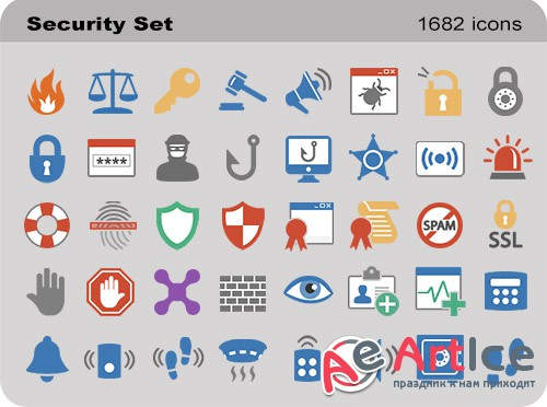 Pure Flat Toolbar Stock Icons - Security Set