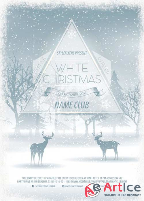 White Christmas PSD V5 Flyer Template with Facebook Cover
