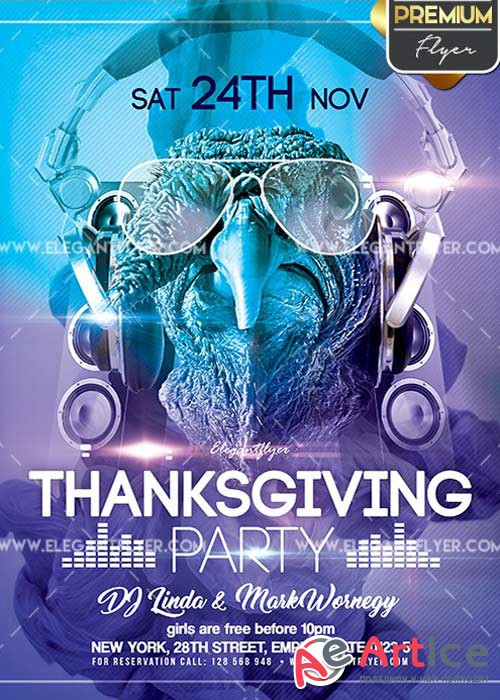 Thanksgiving Party Flyer PSD V12 Template + Facebook Cover