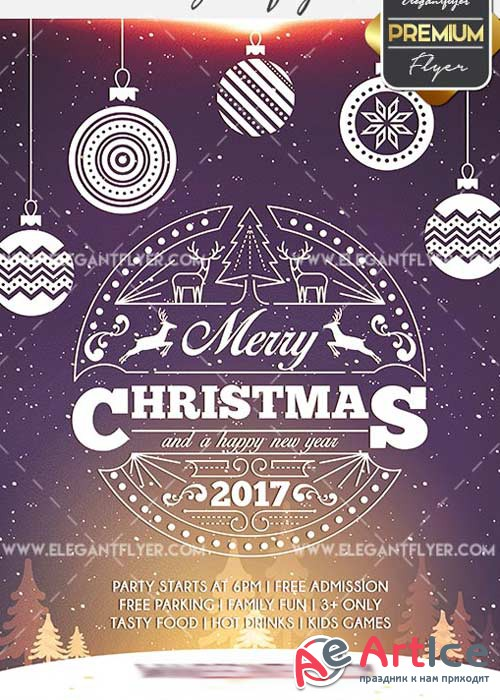 Merry Christmas Flyer PSD V20 Template + Facebook Cover