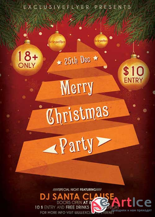 Merry Christmas Party Club and Party Flyer PSD V14 Template