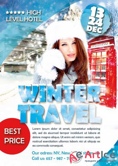 Winter Travel Flyer PSD V12 Template with Facebook cover