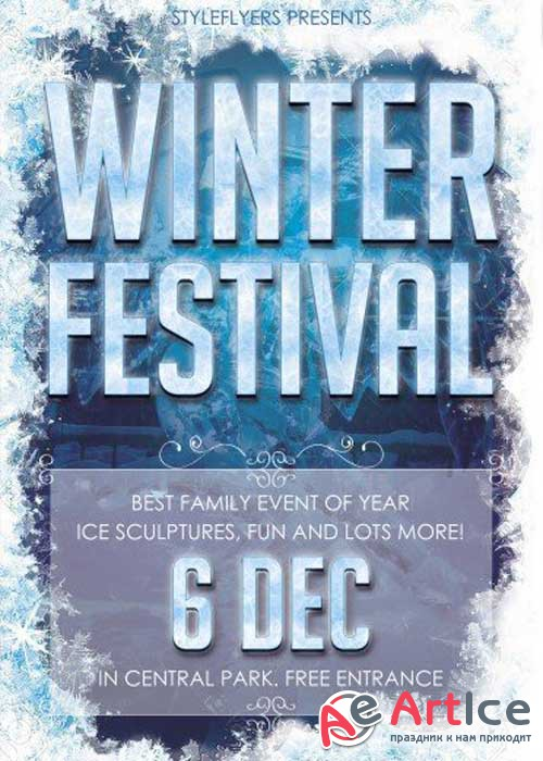 Winter Festival PSD V18 Flyer Template with Facebook Cover