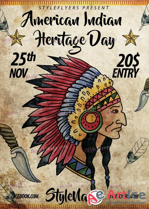 Nov 25 American Indian Heritage Day PSD V5 Flyer Template
